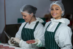 Female butchers maintaining records over digital tablet Royalty Free Stock Images