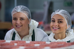 Female butchers at meat factory. Portrait of female butchers at meat factory Stock Photo