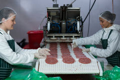 Female butchers processing hamburger patty. At meat factory Royalty Free Stock Image