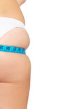Female buttocks with measuring tape. Royalty Free Stock Images