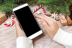 Female buyer makes order at screen of smartphone with copy space. Winter holidays sales. Christmas online shopping.  Stock Image
