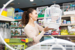 Female buying cage Stock Images
