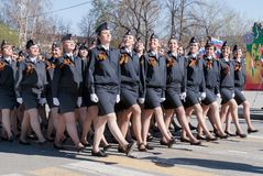 Female cadets of police academy marching on parade Stock Photography