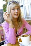 Female in the cafe Royalty Free Stock Photography