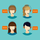 Female call center avatar icons Royalty Free Stock Photography