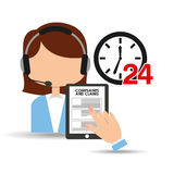 Female call center 24 clock service complaints claims. Vector illustration eps 10 Royalty Free Stock Image