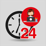 Female call center 24 clock service laptop office Royalty Free Stock Photography