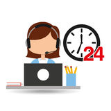 Female call center 24 clock service laptop office. Vector illustration eps 10 Royalty Free Stock Image