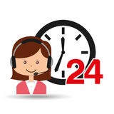 Female call center 24 clock service Royalty Free Stock Image
