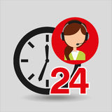 Female call center 24 clock support Royalty Free Stock Image