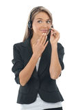 Female call center employee Stock Photo