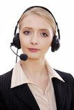 Female call center employee with headset Royalty Free Stock Images