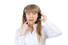 Female call center employee looking surprised Royalty Free Stock Photo