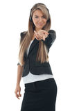 Female call center employee pointing Stock Photography