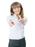 Female call center employee pointing at viewer Stock Photos