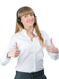 Female call center employee showing thumbs up Stock Image