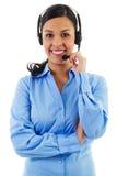 Female call center operator. Stock image of female call center operator isolated on white Royalty Free Stock Image