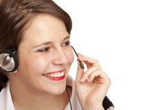 Female Call center operator calling friendly Royalty Free Stock Photography