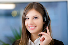 Female call center operator at work Royalty Free Stock Photo
