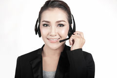 Female call center smiling Stock Photos