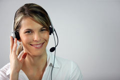 Female call-center worker Royalty Free Stock Image