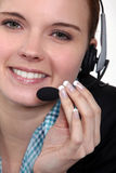 Female call centre agent Stock Photo