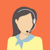Female call centre operator. With headset. Flat moderm style Royalty Free Stock Photo