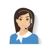 Female call centre operator. With headset. Flat moderm style Royalty Free Stock Photography