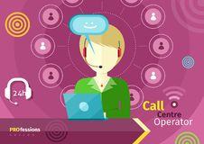Female call centre operator with headset, laptop Royalty Free Stock Photo