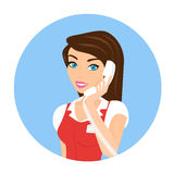 Female call centre operator - isolated Royalty Free Stock Images