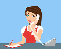 Female call centre operator. Female smiling call centre operator with telephone Royalty Free Stock Photography