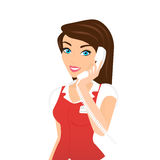 Female call centre operator -. Female smiling call centre operator with telephone  on white background Stock Images
