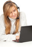 Female call operator smiling with headset Stock Images