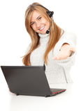 Female call operator smiling with headset Royalty Free Stock Photos