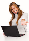 Female call operator smiling with headset Royalty Free Stock Photo