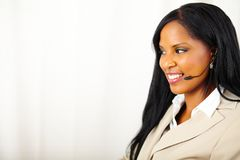 Female call operator at work Stock Images