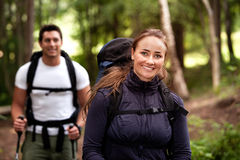 Female Camping Portrait Stock Photography