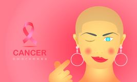 Female with cancer indoors show her strong love hand sign. ribbon and text for care all people.  illustration eps10. Female with cancer indoors show her strong vector illustration