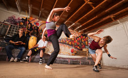 Female Capoeira Performers Sparring Royalty Free Stock Images