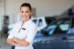 Female car dealer Stock Images