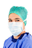 Female cardiac surgeon with mask Royalty Free Stock Photography