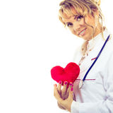 Female cardiologist with red heart. Periodic examinations. Cardiology concept. Female cardiologist holding red heart. Middle aged doctor with stethoscope and stock photography