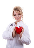 Female cardiologist with red heart. Royalty Free Stock Photography