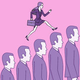 Female careerist. Female careerist jumping over the heads of the competition to succeed Stock Photo