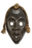 Female Carnival Mask. Archaic wooden carnival mask isolated against white Royalty Free Stock Image