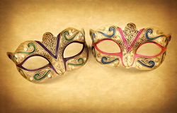 Female carnival mask on vintage background Royalty Free Stock Photo