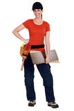 A female carpenter. Stock Photo
