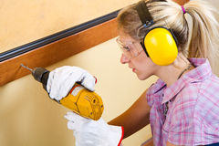 Female carpenter Stock Photo
