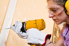 Female carpenter Stock Photography