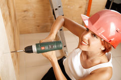 Female carpenter on duty Royalty Free Stock Photo